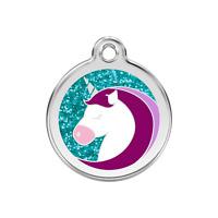 Médaille LICORNE brillante à paillettes en acier RED DINGO gravée chien chat