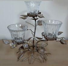 Beige Satin Brushed Gold Votive Tealight 3 Multi Candle Cut Glass Crystal Holder