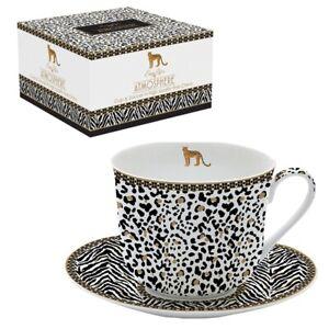 Jumbobecher Tasse mit Unterteller 400 ml Leopard Afrika Easy Life