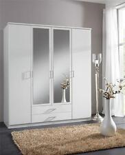 Roma Large 4 Door Matt White Wardrobe Cupboard Bedroom Furniture Closet NEW