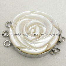 Natural Shell Cameo Flower Craft Clasp 3 Strands 27mm