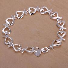 New Women's Fashion Jewelry 925 Silver Plated Heart Link Bracelet 37-8