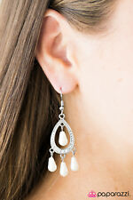 """""""Glam Challenge"""" White Earrings by Paparazzi"""