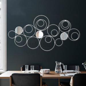Silver Mirror Metal Wall Art Sculpture Swirl Home Decor lndoor Ornement Gift UK