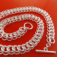 FSA935 GENUINE LADIES 925 STERLING SILVER S/F SOLID LADIES TBAR NECKLACE CHAIN