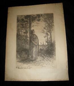 "UNUSUAL VINTAGE 1886 PRE-RAPHAELITE ETCHING PENCILED SIGNED ""F.M. SPIEGLE"" BEA"