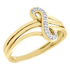 10K Jaune or Infini Jarret Fendu Fiançailles Diamant Promesse Bague 0.04 CT