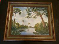 Vintage 1974 Outsider Art Oil on Canvas River Landscape Painting Framed & Signed