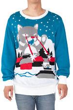 Cat Laser Eyes Men's Ugly Christmas Sweater Sz Large