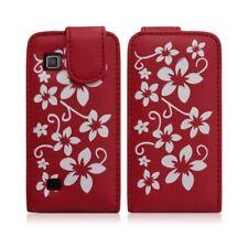 Housse coque etui pour Samsung Star 2 S5260 motif fleurs couleur rouge + film éc