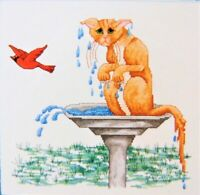 Springberry Kreek Designs Cross Stitch MISSED Cat Birdbath Bird Got Away Funny
