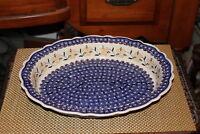 "Boleslawiec Polish Pottery Casserole Dish-15 & 1/4"" Long-Handmade-Blue W/Flowers"