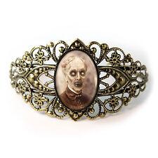 Gothic Haunted House Zombie Ghost Antique Bronze Filigree Horror Cuff Bracelet