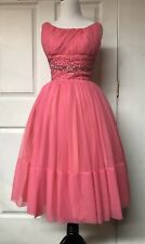 Vintage 1950's 50's 1960's 60's Pink Fuschia  Chiffon Beaded Party Prom Dress