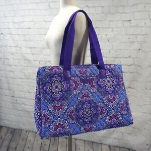 ❤️ VERA BRADLEY Lilac Tapestry Triple Compartment Laptop Travel Tote Purple