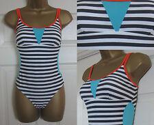 NEW Matalan Ladies Striped Swimming Costume Swimsuit Sporty Black White 8-20