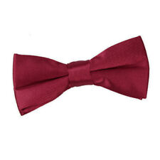 DQT Satin Plain Solid Burgundy Communion Page Boys Pre-Tied Bow Tie