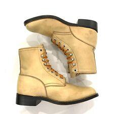 JUSTIN Roper Granny Grunge Boots Size D Cowboy Lace Up Beige Tan Women's
