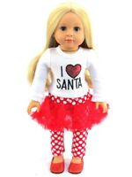 "I Love Santa Christmas Outfit Pant Set  Fits 18"" American Girl Doll Clothes"