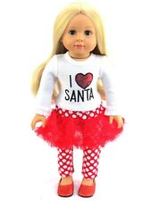"""I Love Santa Christmas Outfit Pant Set  Fits 18"""" American Girl Doll Clothes"""