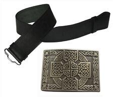 Herren Echtleder schwarz Kilt Gürtel & Antik Schnalle Highland Kleid 2-tlg