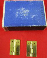 4 uralt Messing-Scharniere für Schatulle Schachtel Kistel aus Schachfabrik Erzg.