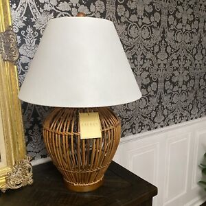 "Unique RALPH LAUREN Rattan Wicker Table Lamp Wood Base - 26"" - NEW WITH TAGS"