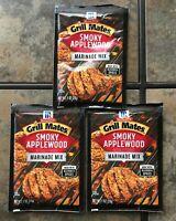 3 packs of McCormick Grill Mates Smoky Applewood Marinade Mix 1 oz free shippin
