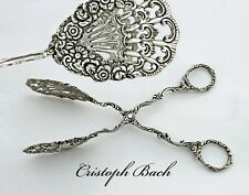 German .835 Solid Silver Cake, Pastry Server Tongs - Repousse Rose decoration