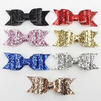 Sweet Women Girls Glitter Hairpin Bowknot Barrette Crystal Hair Clip Bow Gift CN