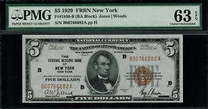 1929 $5 Federal Reserve Bank Note New York - FR.1850-B - Graded PMG 63 EPQ