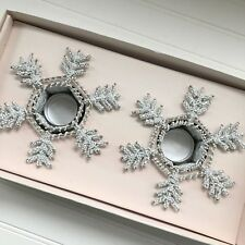 Star of Wonder 2 Beaded Snowflake Candle Holder Ornaments Christmas India Made