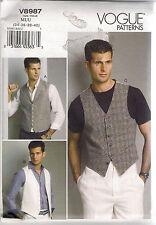 Vogue Sewing Patterns 8987, Men's Vests, Costume, Dance, Size 34 - 40, Uncut