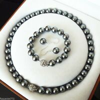 17/7.5-Zoll 10mm dunkelgraue Muschelkernperlen Halskette Armband und Ohrring-Set