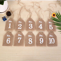 Hessian Square Table Numbers 1-10 Burlap Wedding Party Vintage Rustic Shabby ME