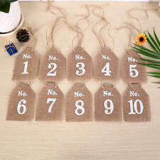 Hessian Square Table Numbers 1-10 Burlap Wedding Party Vintage Rustic ShabbRASK