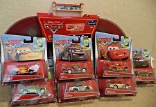 DISNEY CARS RACE CASE AND TRACK W/ 7 CARS CHICK HICKS MIGUEL MAX PONCHY LEWIS +