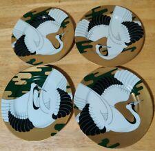 "4 Golden Tancho Stork Fitz & Floyd Salad Plate Bird Collector 7.5"" 4 Plates"