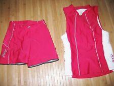 Zoot Shorts and Jersey Tank Tri Triathlon Womens Small Nylon Spandex Red & Gray