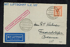 1929 Boblingen Germany Graf Zeppelin Postcard Cover to Bodensee LZ 127