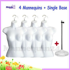 4 Female Torso Mannequins + 4 Hangers +1 Stand: White Female Dress Form Display
