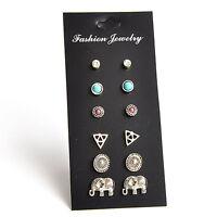6Pairs/Set Fashion Women Retro Triangle Elephant Turquoise Earrings Stud J&C