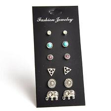 6 paia / set Orecchini a bottone turchese con triangolo a forma di triangolo