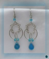 Earrings murano glass saya turquoise blue silver of peruvian alpaca