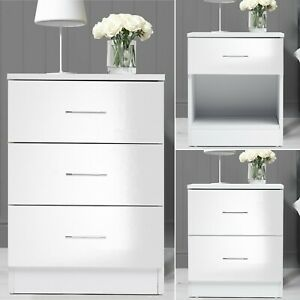 Modern Bedside Table Cabinet 1 2 3 Chest Of Drawers Nightstand Bedroom Furniture