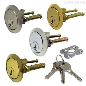 Rim Cylinder 3 keys Replacement Door Lock Nightlatch Latch Chrome Satin Brass