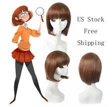 Women Brown Red Coffee Short Bob Hair with Bangs Cute American African Full Wigs