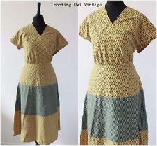 70s Vintage Midi Dress Yellow Floral RETRO Prairie FOLK Festival Hippy Dress 10