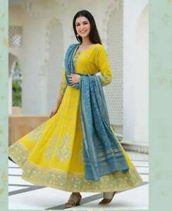 Women Indian Kurta Anarkali Kurtis Dupatta Set Pakistani Kameez Readymade suit
