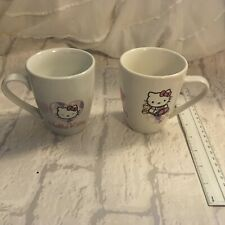 Hello Kitty x 2 Mugs/ Cups Pink & White by Sanrio